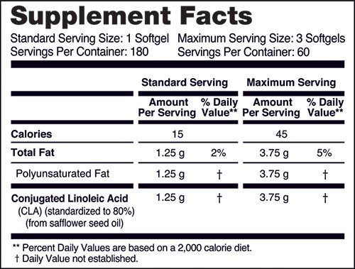 NatureWise CLA 1250 Supplement facts